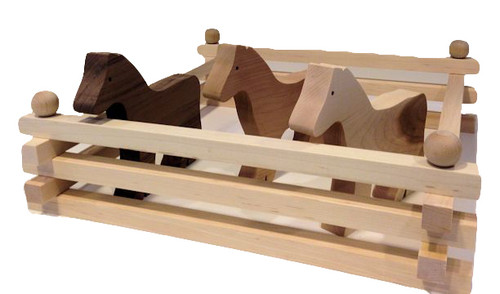 """Children can assemble their own corrals or pastures with real maple fencing. Fencing pieces are 16"""" long and I include ten in a package, with six connecting pegs along with three wooden horses crafted from cherry, maple and walnut hardwoods. Although my fencing is compatible with the popular collectible horses, many prefer an assortment of wooden horses (naturally), crafted from different woods to create a collection of different breeds. Horses are 7"""" long x 6"""" high."""