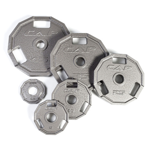 """CAP Barbell 12-sided 2"""" Cast Iron Grip Plate, Gray"""