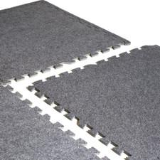 Close-up of CAP Barbell 6-pcs Foam Tile Flooring w/ Carpet Top