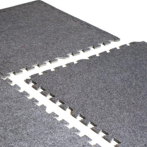 Close-up of CAP Barbell 6-pcs Foam Tile Flooring w/ Carpet Top
