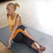 Model stretching on CAP Barbell 6-pcs Foam Tile Flooring w/Yoga Mat Texture