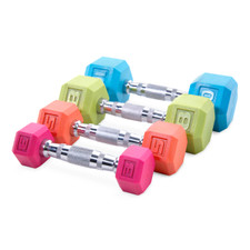 CAP Barbell Color Rubber Coated Hex Dumbbell, Single