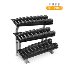 CAP Barbell 5-75lb Rubber Hex Dumbell Set With Rack