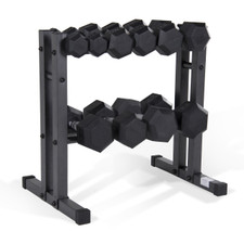 CAP Barbell 150 lb Rubber Dumbbell Set with Rack
