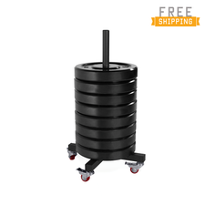 240 Lb Black Bumper Plate Set with Trolley Storage Rack (15 Lb Bumper Plate x 16)