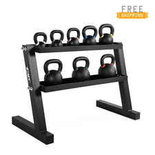 WF Athletic Supply 260lb Competition Kettlebell Set with Storage Rack