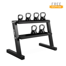 WF Athletic Supply 135lb Black Rubber Coated Kettlebell Set with Storage Rack