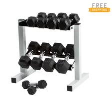 Cap Barbell 150lb Rubber Hex Dumbbell Set