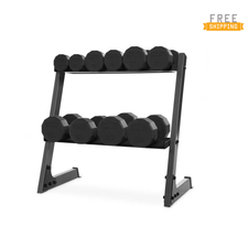 CAP Barbell 12-sided Rubber Dumbbell Set with Rack, 200-Pound
