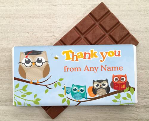 Personalised Thank You Owl Milk Chocolate Bar