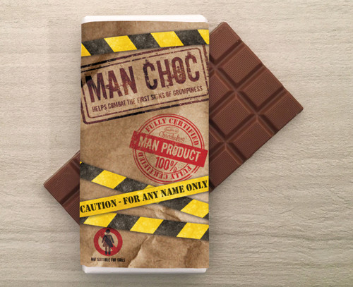 Personalised Milk Chocolate Bar in a 'Man Choc' design