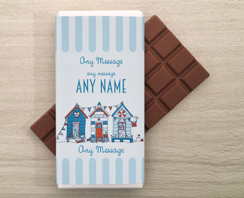 Personalised Milk Chocolate Bar Beach Hut Design