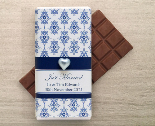 Personalised Milk Chocolate Bars in a wrapper with a Blue Baroque design and a decorative pearl heart.