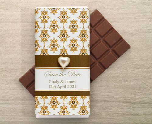 Personalised Milk Chocolate Bars in a wrapper with a Brown Baroque design and a decorative pearl heart.