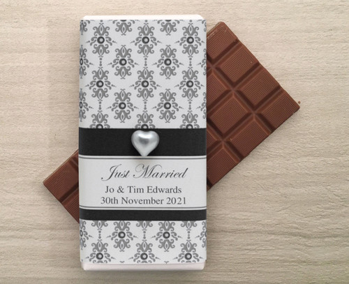 Personalised Milk Chocolate Bars in a wrapper with a Black Baroque design and a decorative pearl heart.