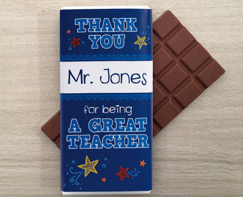 Thank You Milk Chocolate Bar in Blue : Example text: Thank you Mr Jones for being a great Teacher