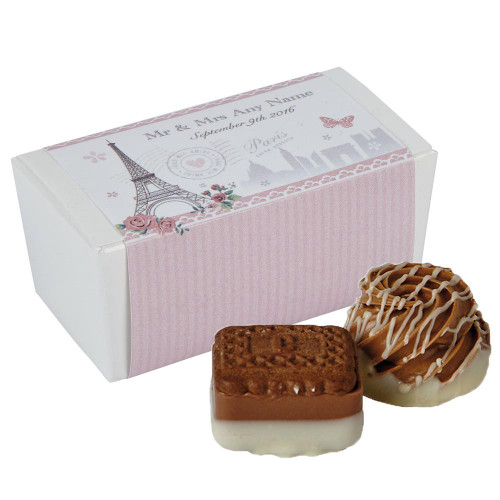 Personalised Wedding Favours - Parisienne design - comes complete with two luxury chocolates