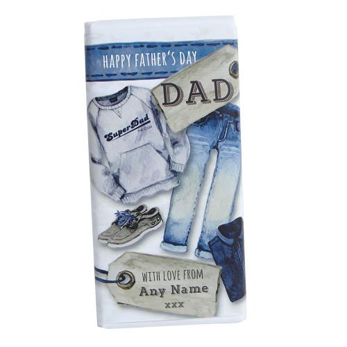 Personalised Denim Dad Chocolate Bar 100g