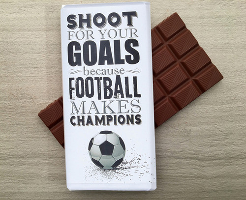 Milk chocolate bar for the team player who loves football. Another winner from Chocolates for Chocoholics