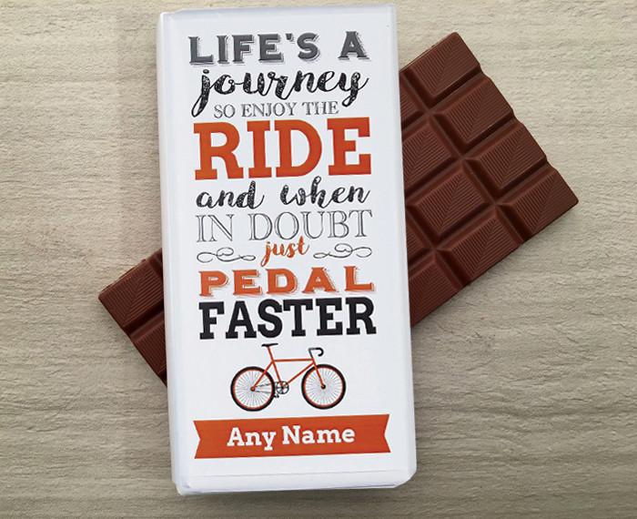 Personalised Cycling Milk Chocolate Bar 100g