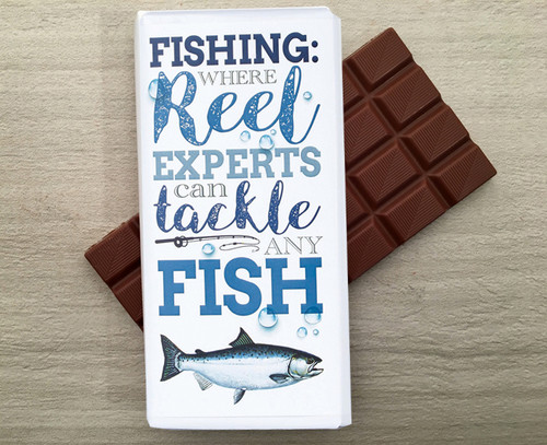 Chocolate bar for a fisherman from Chocolates for Chocoholics.