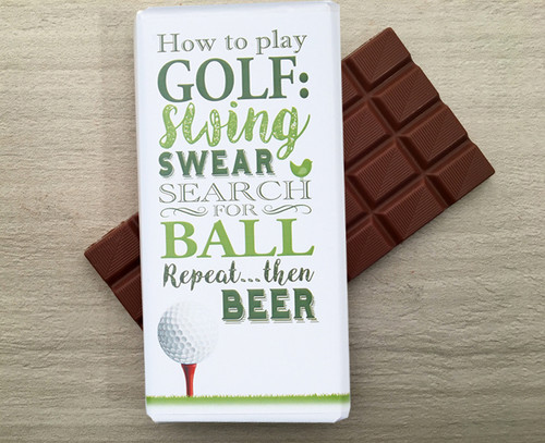 Milk chocolate bar for anyone who loves golf by Chocolates for Chocoholics