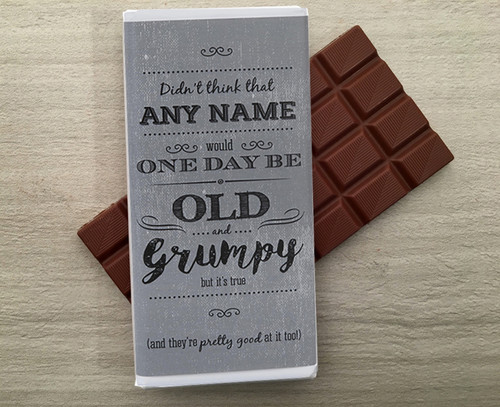 Personalised chocolate bar for the Old and Grumpy person in your life from Chocolates for Chocoholics