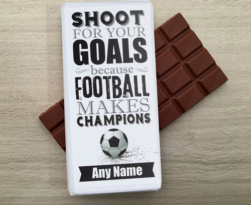Personalised Milk Chocolate Bar for a Football Fan or player from Chocolates for Chocoholics.