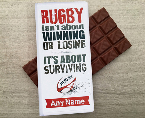 Personalised Milk Chocolate Bar for a Rugby player or fan from Chocolates for Chocoholics