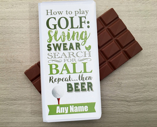 Personalised Milk Chocolate Bar for a Golfer from Chocolates for Chocoholics