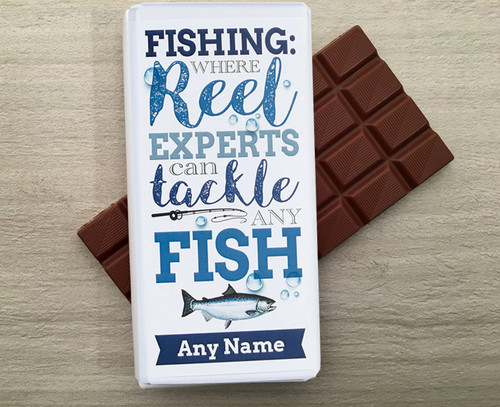 Personalised Milk Chocolate Bar for a Fisherman from Chocolates for Chocoholics