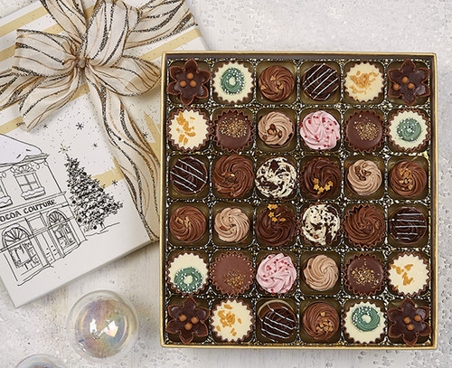 36 x Fluted Cups, Cupcake and Pie style chocolates giving you a Cocoa Couture Christmas Experience