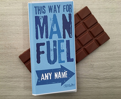 Personalised Chocolate Bar in a 'Man Fuel' design