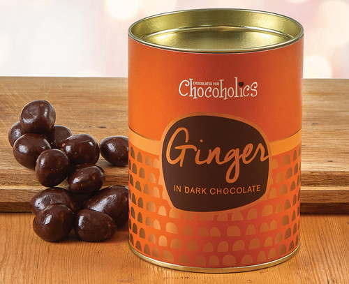 8061 Ginger in Plain Chocolate in a drum