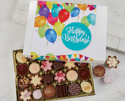 Box of 24 chocolates with a birthday gift design wrapper code 335g
