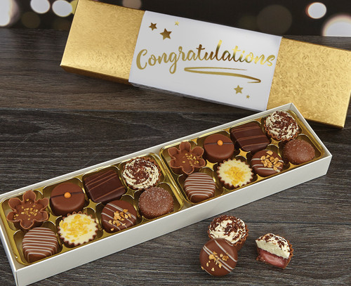 Send Your congratulations to someone with a Gift box of luxury chocolates from Chocolates for Chocoholics
