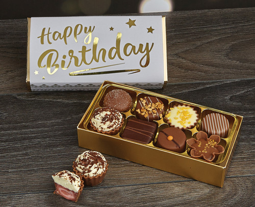 Wish someone a happy birthday by sending them a Luxury Box of 8 Belgian Chocolates from Chocolates for Chocoholics