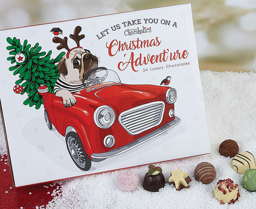 24 Luxury Chocolates for Christmas - Pug design