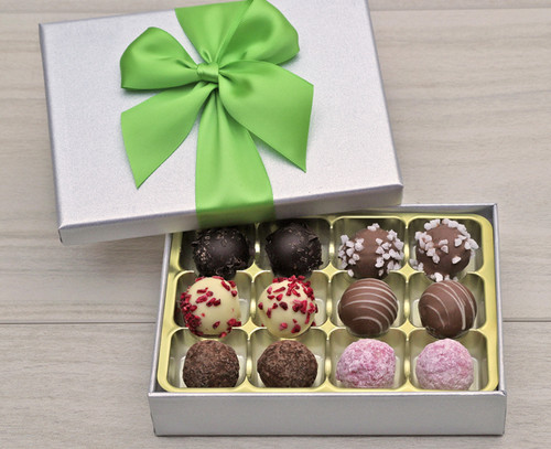 8535 Luxury 12 Chocolate Truffles in a Silver box - Tempting Truffles