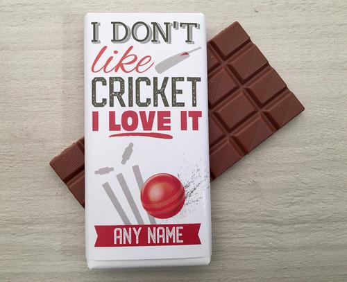 Personalised Milk Chocolate Bar - Cricket design 100g 9231