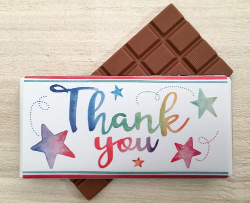 Thank You Star Design Milk Chocolate Bar