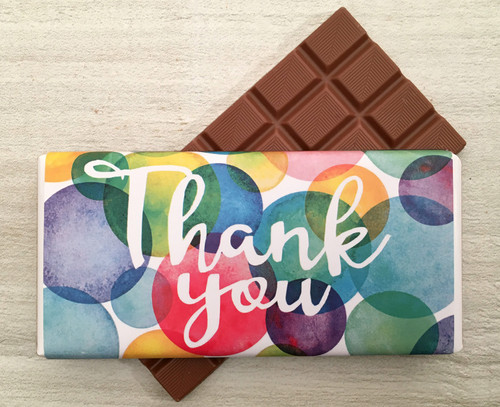 Thank You Bubbles Design Milk Chocolate Bar