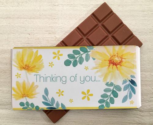 Thinking of You Yellow Flower Design Milk Chocolate Bar