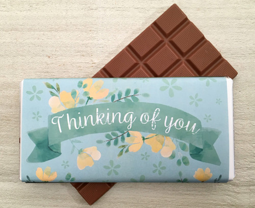 Thinking of You Green Flower Design Milk Chocolate Bar