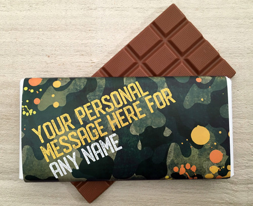 Personalised Milk Chocolate Bar - Camouflage design in Green