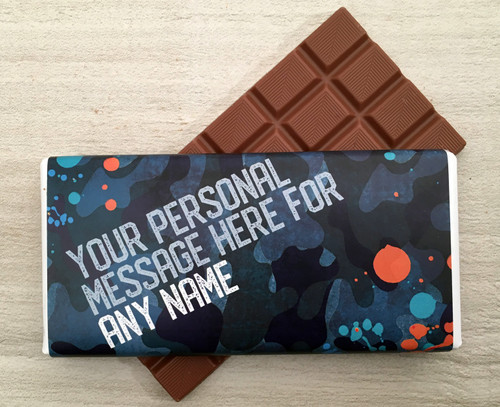 Personalised Milk Chocolate Bar - Camouflage design in Blue