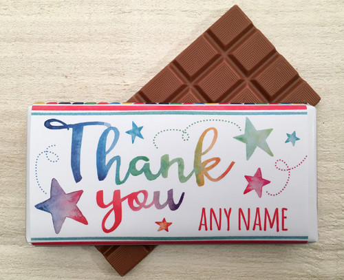 Personalised Thank You Star Design Milk Chocolate Bar