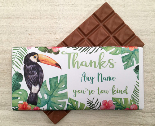 Personalised Thanks Toucan Design Milk Chocolate Bar