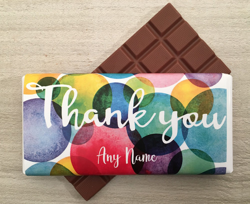 Personalised Thank You Bubbles Design Milk Chocolate Bar
