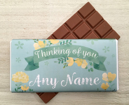 Personalised Thinking of You Green Flower Design Milk Chocolate Bar